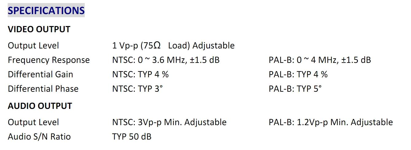 Bảng thông số kỹ thuật giải điều chế tín hiệu Winersat WDM 200