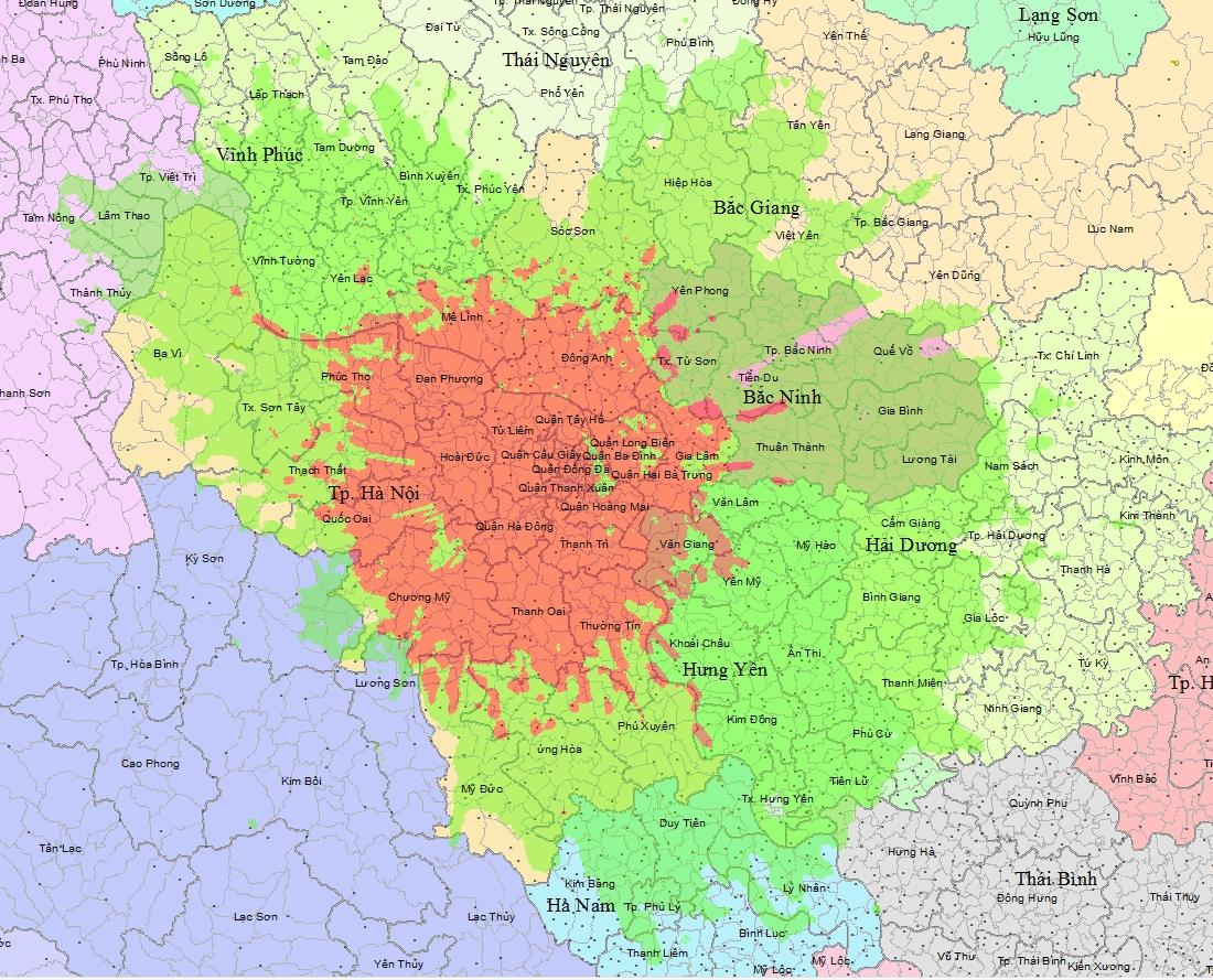 Bản đồ vùng phủ sóng kỹ thuật số DVB - T2 Hà Nội