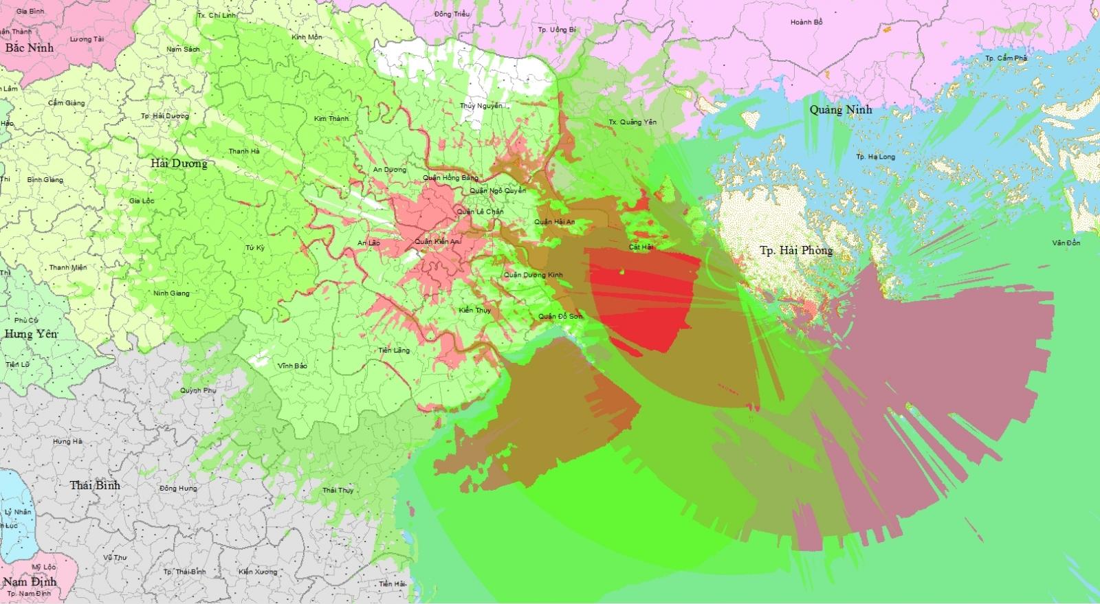 Bản đồ vùng phủ sóng kỹ thuật số DVB - T2 Hải Phòng