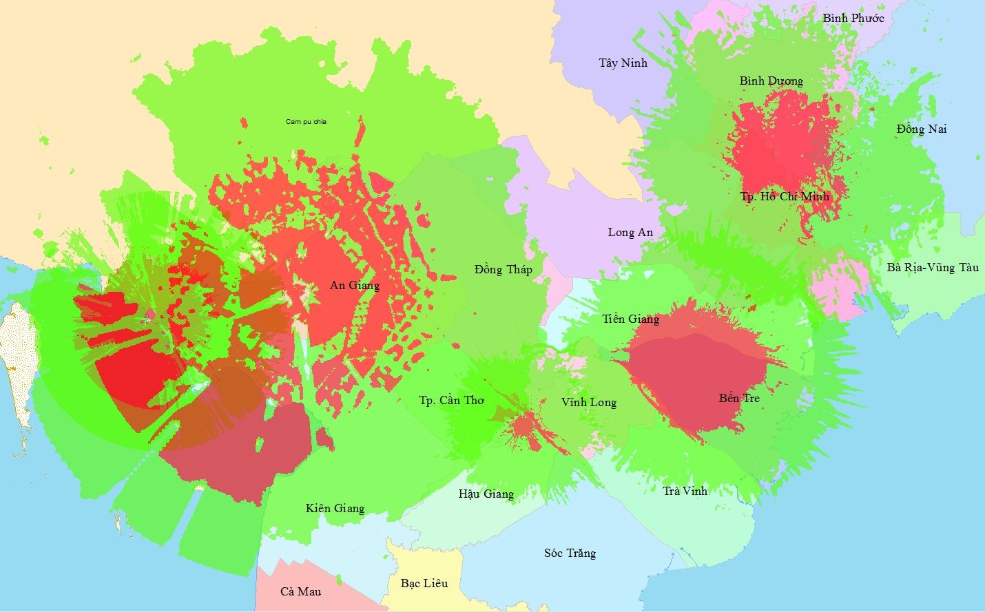 Bản đồ vùng phủ sóng kỹ thuật số DVB - T2 Miền Nam