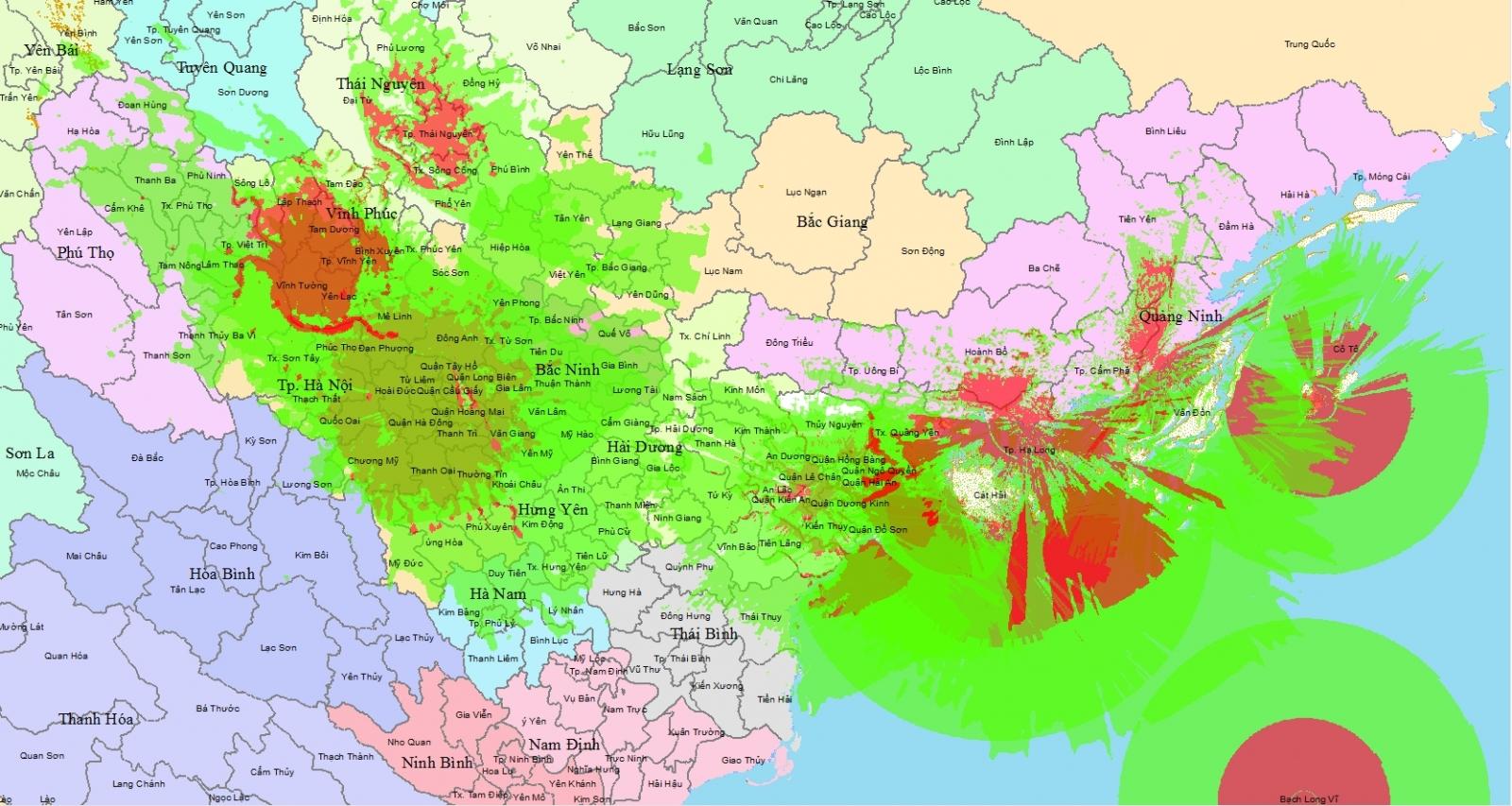 Bản đồ vùng phủ sóng kỹ thuật số DVB - T2 Miền Bắc