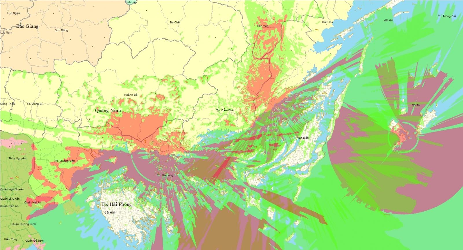 Bản đồ vùng phủ sóng kỹ thuật số DVB - T2 Quảng Ninh